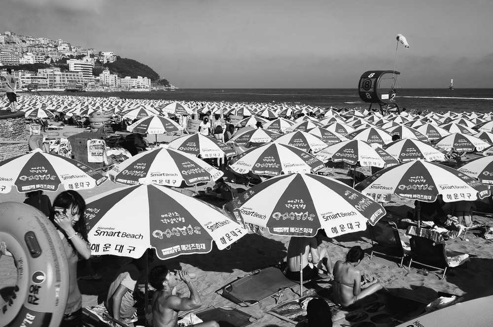 The starting point: Summer madness at Haeundae, where I began my journey north. Fortunately I quickly left this scene of horror far behind.