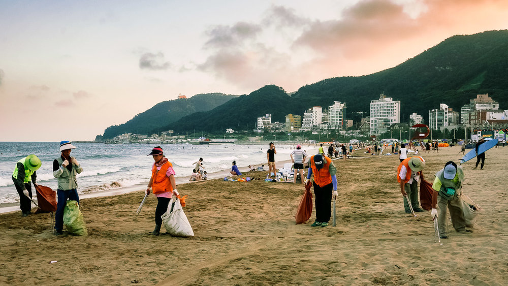Songjeong Beach. I was shocked at how much garbage covered the sand. People ate, drank & dumped, then left it all for the old people to pick up. Again, I soon left most of this sort of behaviour behind.