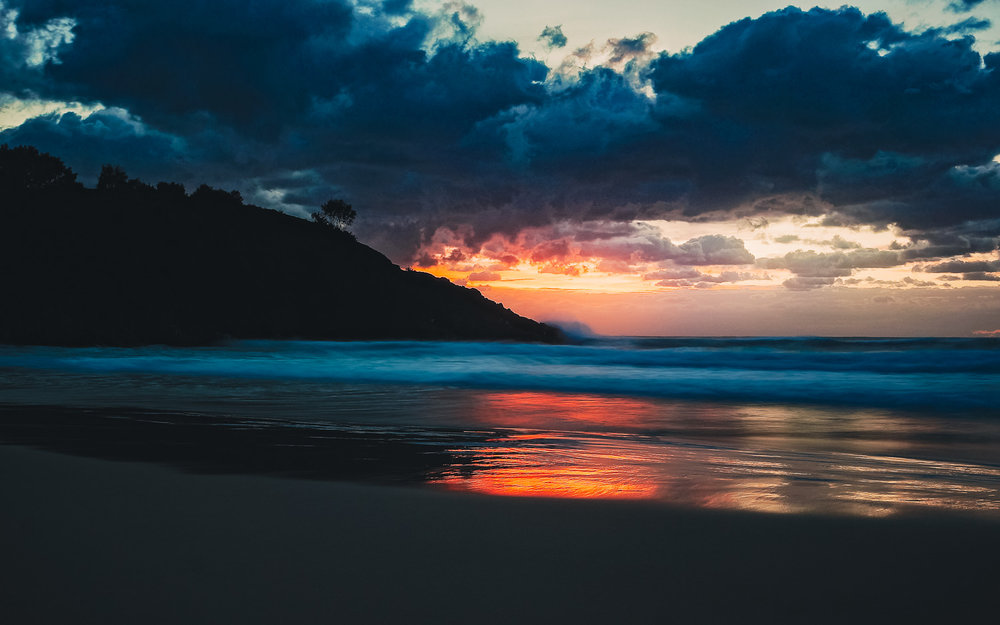 Sunrise at Cape Moreton from the eastern coast.