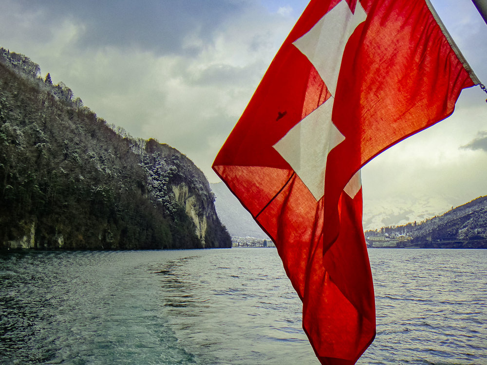 """Journeying by ferry to Rütli Meadow on the banks of Lake Lucerne to begin a solo winter hike of the Weg der Schweiz (""""Swiss Path""""), 2010."""