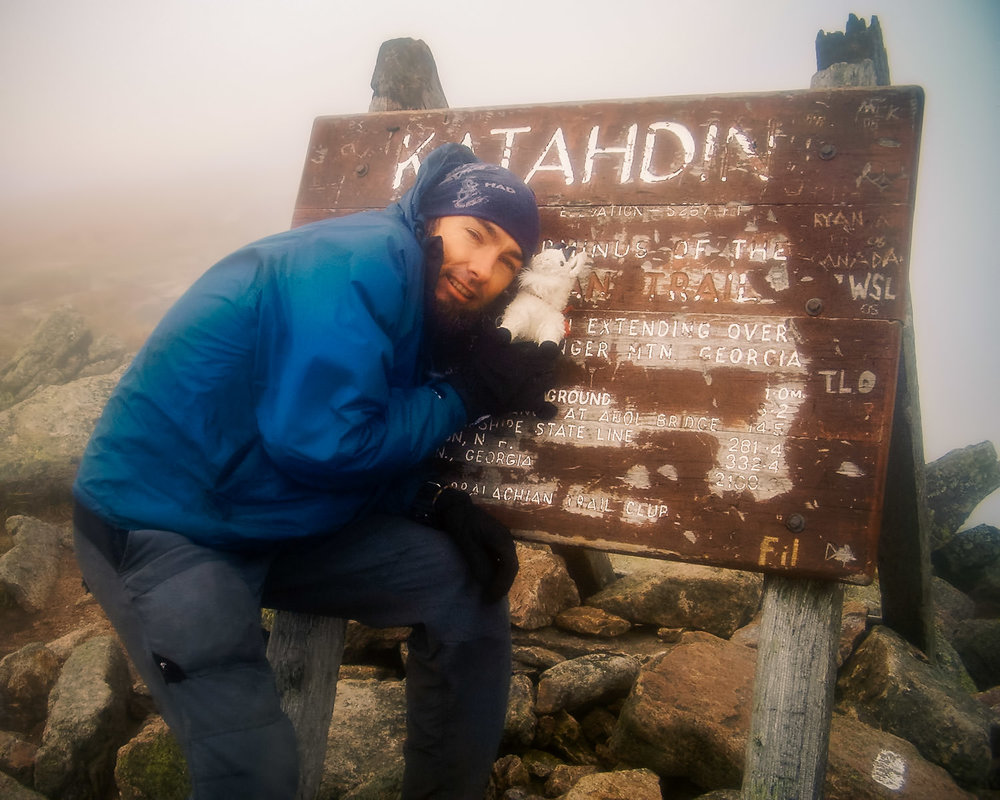 Yours truly & my little companion (one gets cold & lonely sometimes in a tent at night)Ed the Mountain Goat at journey's end: the summit of Katahdin, Maine, on August 22, 2006.