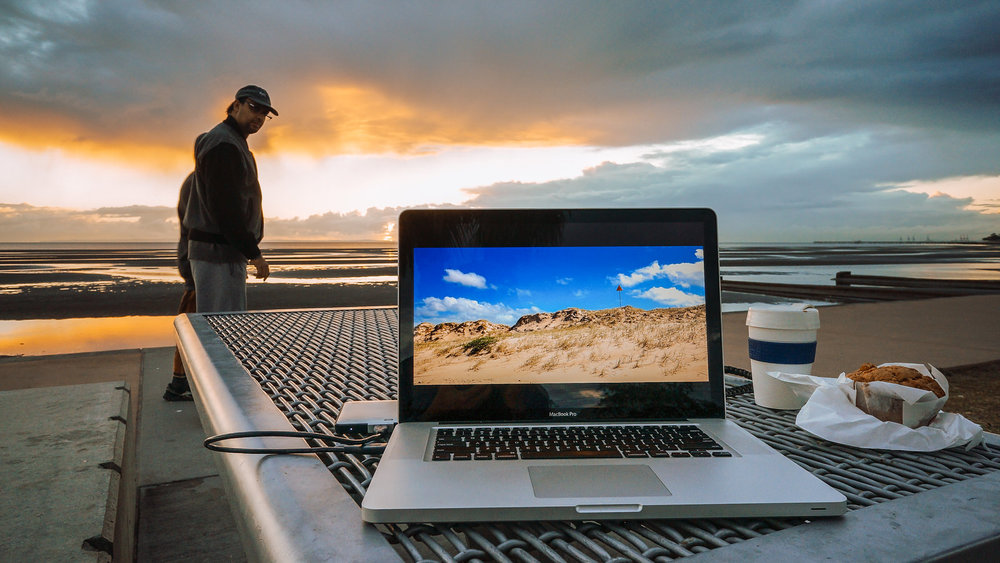 Editing on the go: A breakfast editing session on the Sandgate waterfront, 2015…