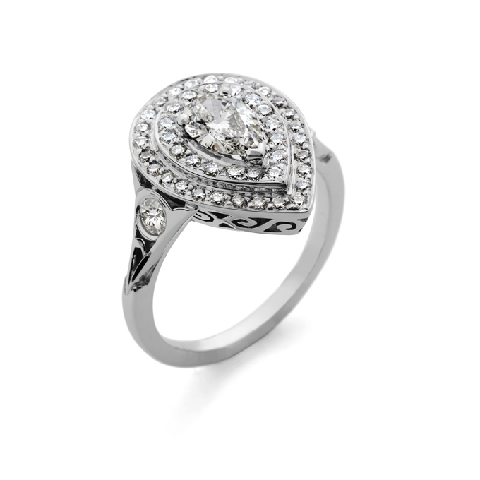 3e1806c6e1c9b 18ct white gold (rhodium plated) pear-shape ring set with white diamonds.