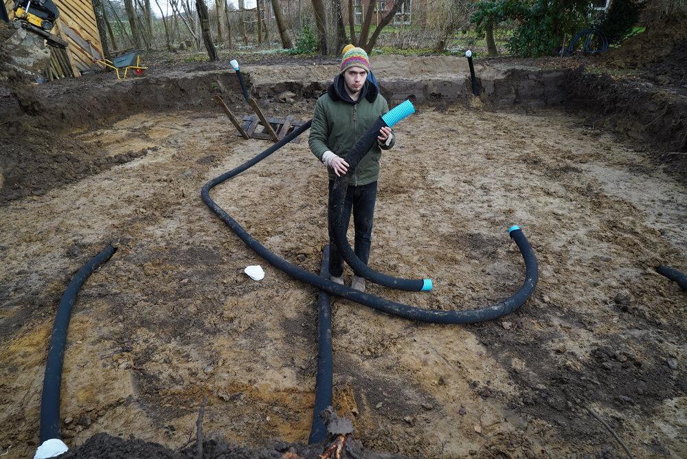Udgravning, fundament og radonrør -