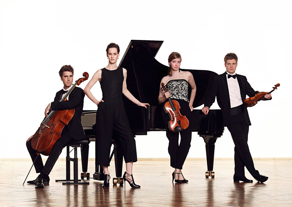 BIOGRAPHY - Notos Quartett are celebrated worldwide for their sense of balance and ensemble playing and are praised for their 'profound musicality that goes straight to the heart'. Since its foundation, the piano quartet have won six first prizes as well as numerous special prizes at international competitions in England, Holland, Japan, Italy and China and in 2017 the quartet was awarded the ECHO Klassik Award as a Newcomer of the Year.The quartet's debut recording 'Hungarian Treasures' for Sony Classical/RCA was released in February 2017 and has enjoyed outstanding reviews by The Guardian, The Strad, BR Klassik, Spiegel Online, Rondo and many more. The CD includes the premiere recording of the Piano Quartet by Béla Bartók, a rediscovery for which the Notos receives international acclaim.Full biographies are available in: ENRepertoire: 19/20