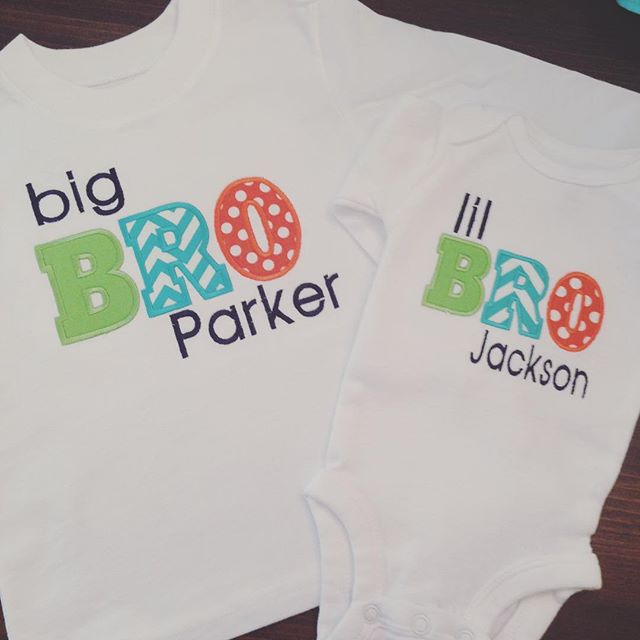 Sweet Big Brother/Little Brother outfits!! I just love this custom combination this Mommy chose!! #thelittleazalea #monogrammedgifts #monogrammedbaby #bigbrolittlebro