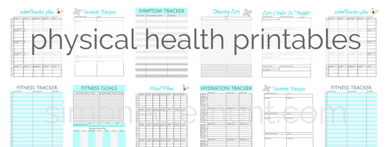 physical health printables meal planner fitness planner natural beauty hydration tracker symptoms tracker