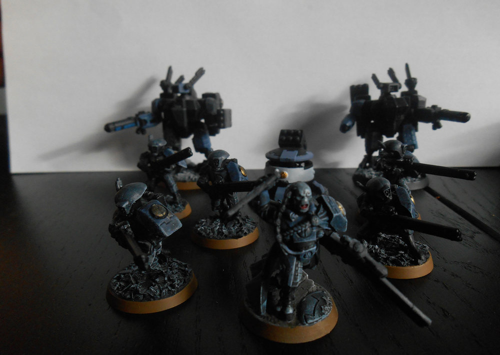 Rapid Intervention Cadre Team 1, a combination of a Strike Team Fire warriors and a unit of XV-8 Battlesuits