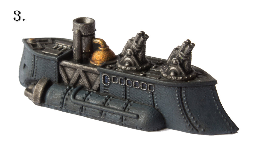 Now apply a generous wash with black ink all over the ship except the gold areas which receive a Sepia wash. I used    Nuln Oil    and    Seraphim Sepia    respectively.