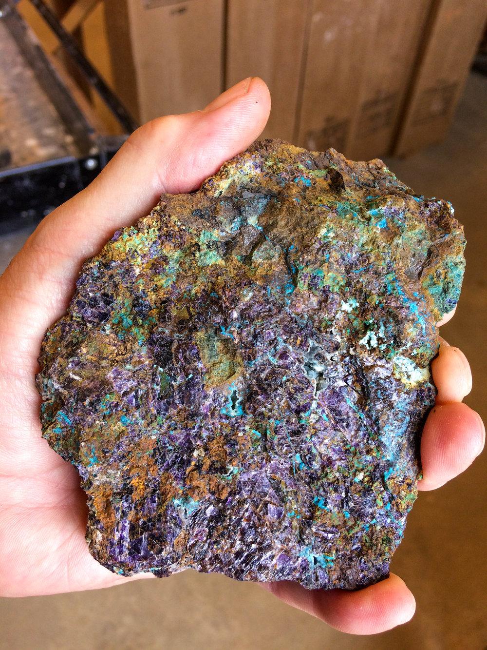 Azurite malachite flourite garnet limonite skarn