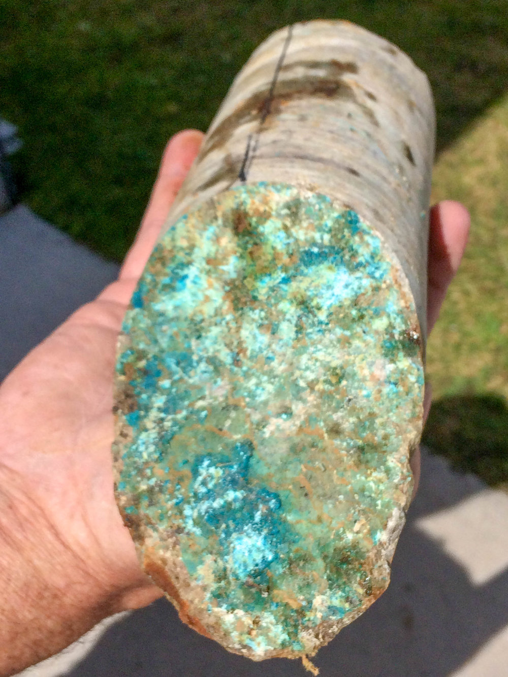 Malachite (copper oxide) in core at Empire 2018