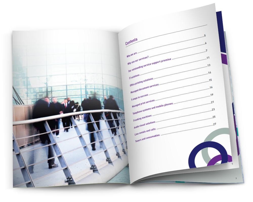 Workflow managed print solutions, print solutions, managed document solutions brochure for Lexmark, Xerox, Ricoh, Konica Minolta and HP