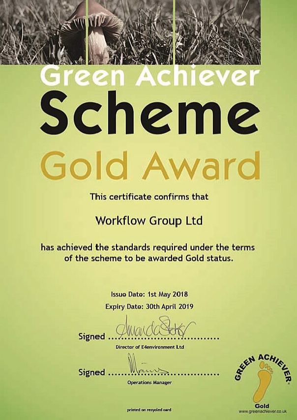 Workflow Group 2018 Green Achiever Award Gold Certificate