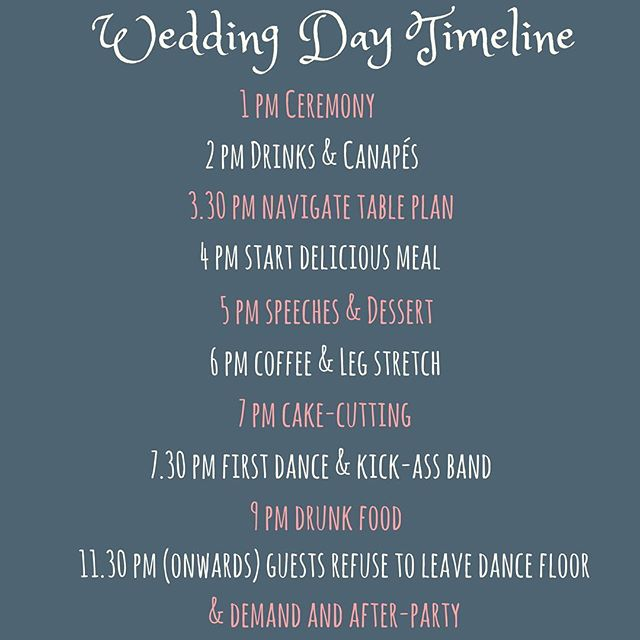 We're only at it again... Not only have we come up with the ultimate wedding day timeline for you to pinch, we are also giving away (for free) a selection of alternatives in spreadsheet form!! We are told that our way is not the only way, if you can believe that. . . Link to all this goodness in bio 👆. . . What time should a wedding start?? Go on, tell us... . . . #weddingdaytimeline #weddingplanningtips #weddingtimeline #borrowthebride #engaged #bridetobe2018 #bridetobe2019 #canva #gettingmarried #weddingday #weddinginspiration #weddingseason2018 #weddingtime #itsallinthedetails