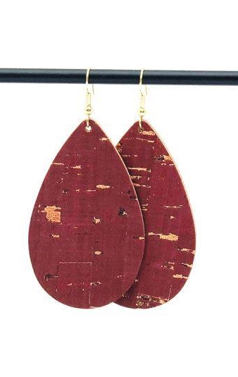 Brick Cork - Our Brick Red Cork features gold flecks, and has a leather backingMade with gold surgical steel hooks.