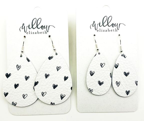 Black & White Hearts - Perfect with red or pink!https://www.willowelizabeth.com/leather-earrings/limited-white-amp-black-hearts