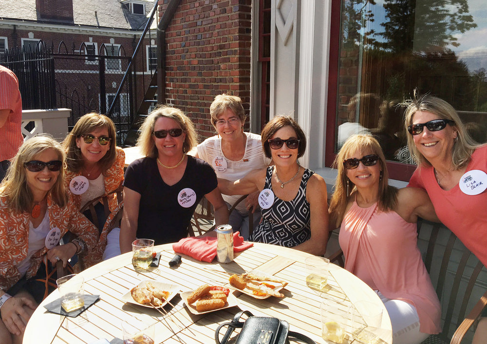 Women celebrating their 30th reunion, including Keri Briggs '82, Chrissie Osborn '82, Penny (Bunn) McCoor '82, Molly (Mellville) Hill '82, and Lisa Blair '82. Carol Brown '75 also pictured.
