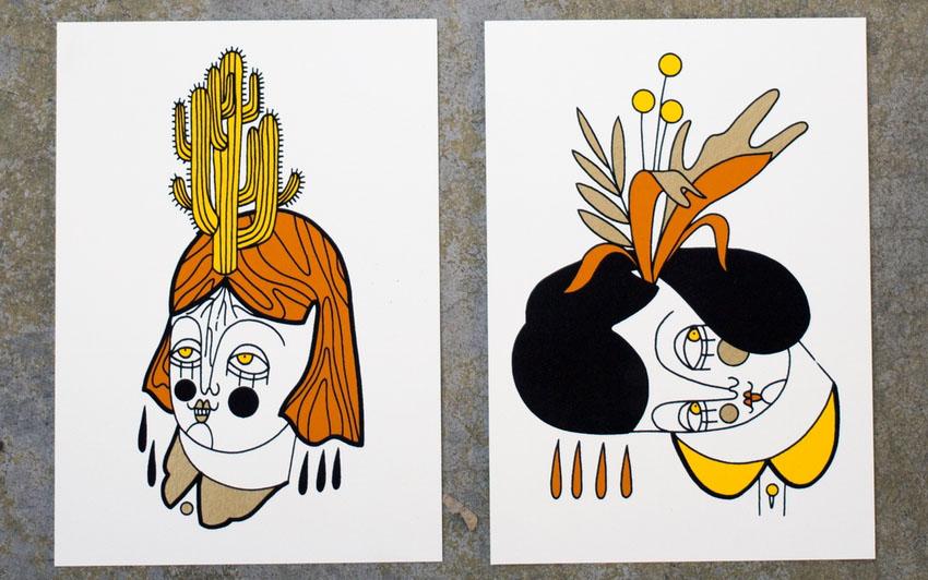illustrazioni piante facce