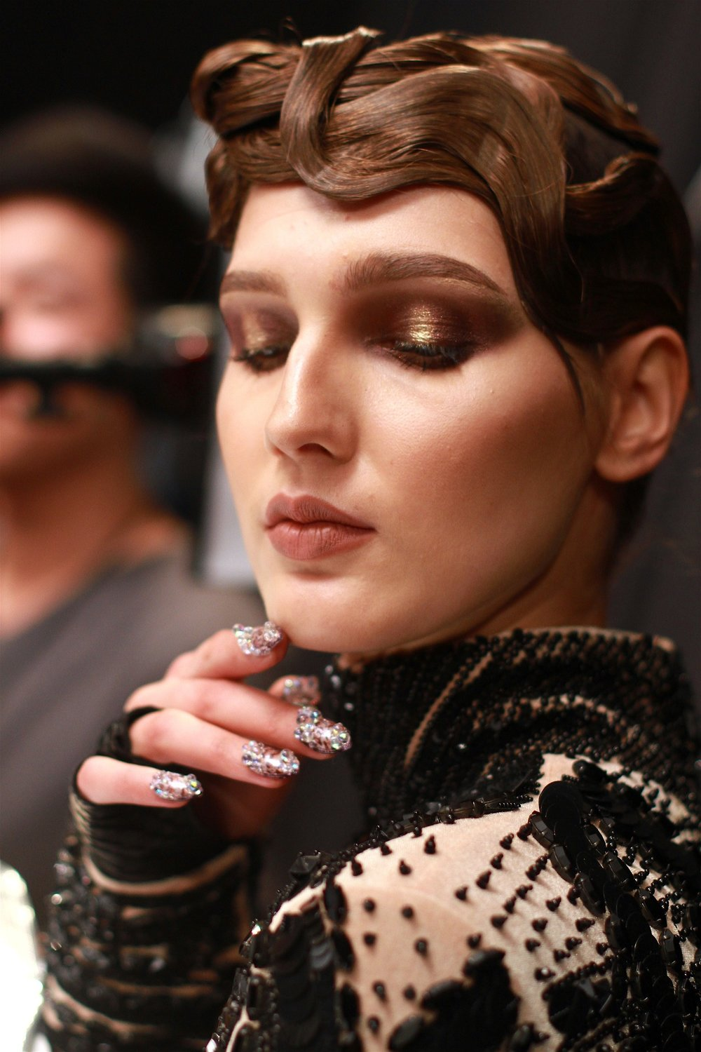Bronze is the new rose gold , backstage at The Blonds AW17.    Hair: ORIBE | Makeup: MAC | Nails: CND     Image:  The Greyest Ghost  for Cult of Pretty