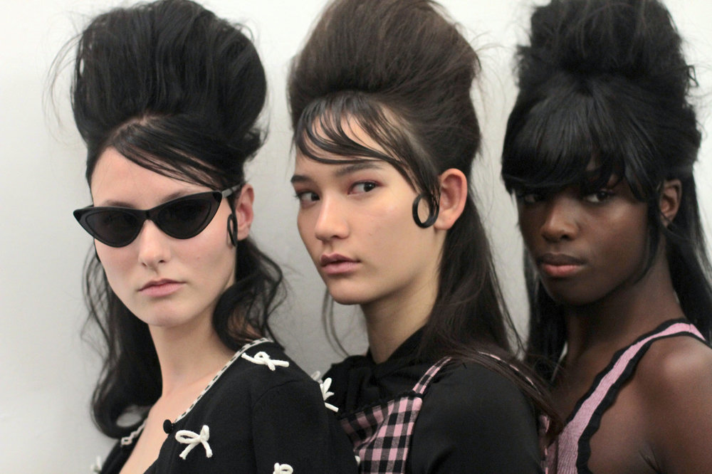 Dying over this girl gang  backstage at Adam Selman   Hair: Bumble and Bumble | Makeup: MAC | Nails: Madeline Poole for Sally Hansen   Image by  The Greyest Ghost  for Cult of Pretty