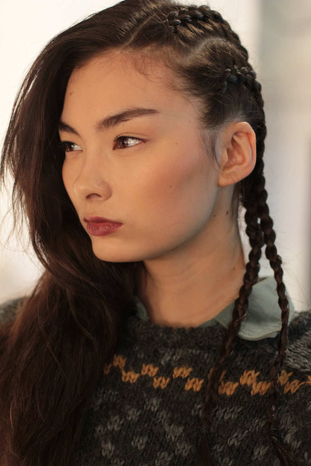 Will never, ever kick a side braid out of bed, backstage at Hellessy Hair: Cutler / Redken | Makeup: Bobbi Brown Image by The Greyest Ghost for Cult of Pretty
