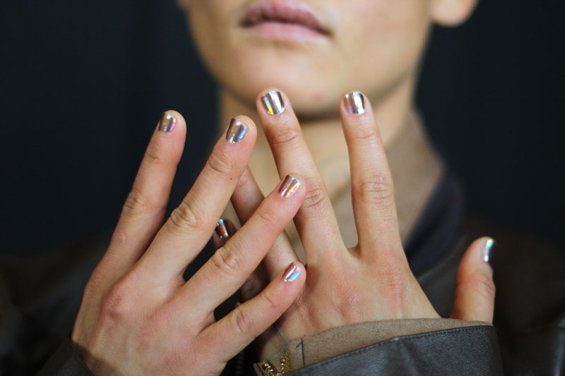 This year Hood By Air is into all things iridescent, including fingertips. #Backstage  Nails by Minx  Image: Rachel Scroggins for Cult of Pretty (The Greyest Ghost)