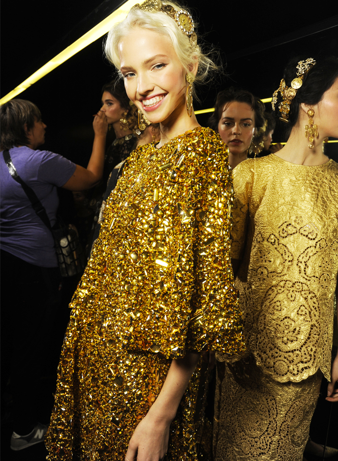 Backstage at Dolce & Gabbana Milan Fashion Week.    No, we weren't there in person..  We wish.     Image via  Fashion Network Forum     -Kristin