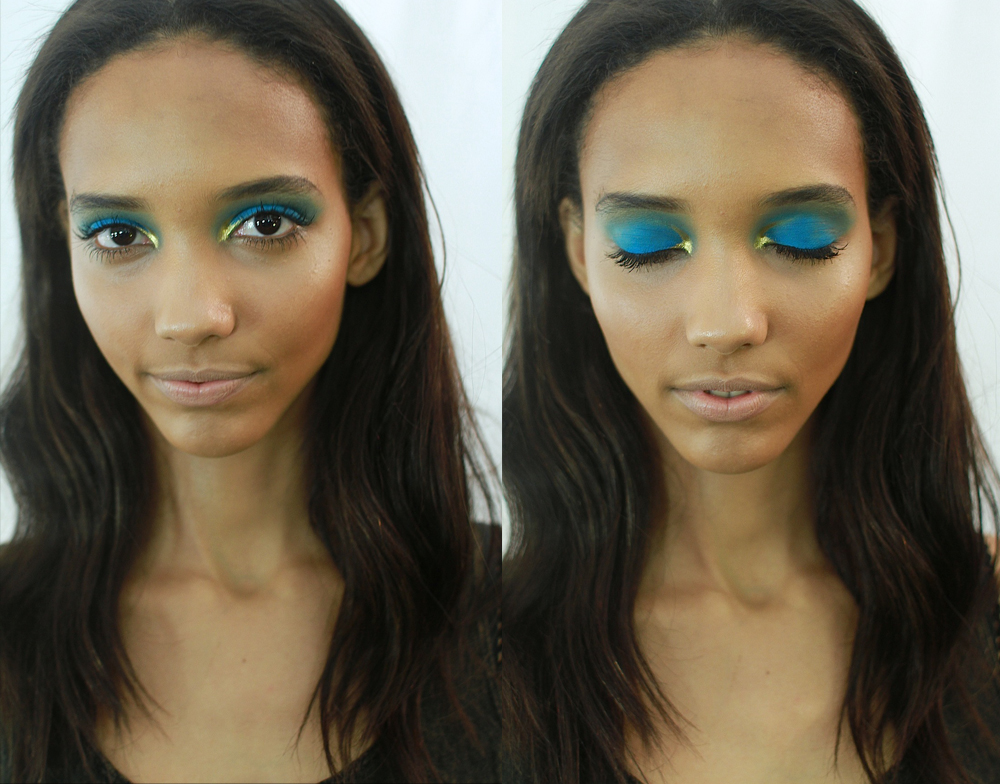 Amazing eyes at Monique Lhullier SS13 by M.A.C. The shape of the gold as it flows away from the inner corners is exquisite - click to see the picture larger and you'll see what I mean! Images: The Greyest Ghost for Cult of Pretty [apologies for the multiposting / if I deleted your repost - tumblr was going nuts this am]