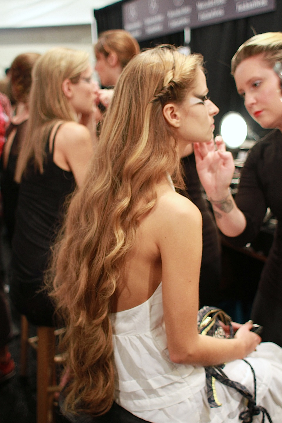 Let down your hair,  backstage at Erickson Beamon SS13.   Hair: Sarah Potempa with Aussie for  Beauty.com ; Makeup  NYX     Image:  The Greyest Ghost  for Cult of Pretty