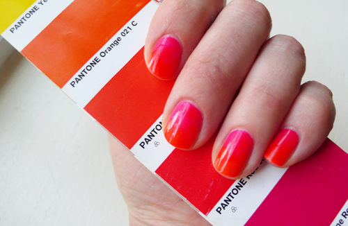 I hope you're vacationing somewhere.  I am not!  Hence the  vacay Resort (2012)  ombré sunset  I created on my nails.   Every night at 7pm this week, I'm going to pour myself and drink, set up a chair, and stare out at my nails.  normal       I received the Jet Set collection from    Le Métier de Beauté   (a hot pink, orange and sunny yellow), and by sheer luck both the translucent, gel-like nature of the formulas and the close-ness of the pink and orange shades made them PERFECT for a fast   ombré manicure.                                  I just applied a base coat, one layer of the pink about ¾ of the way up my nail, then applied the orange slightly overlapping with the pink.  Finished with top coat and that was it!  So easy … it's hard to see in the photos how bright and delicious this is in real life … it's also double-take inducing in its subtlety.                                                 Try it!       Does this : Super easy and stunning sunset  ombré manicure   Is this :  ShocKEN Pink and Not-So-Safe Orange from     Le Métier de Beauté 's Resort 2012 collection.    Get this : Available early January at    Bergdorf Goodman   &      Neiman Marcus   Price : ~$18     Polishes c/o the brand