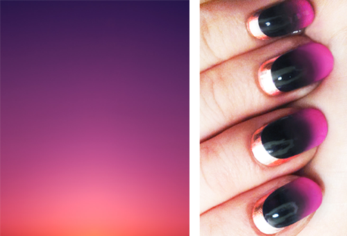 This weekend a friend showed me the work of Eric Cahan; on the left is one of his series of photographs of sunsets. They're a beautiful source of inspiration for all of your ombré beauty jams - hair tips, nails, eyeshadow - and you can see them all here. The nails are by Madeline Poole for Nailing Hollywood, and you can read about her technique here. Have you tried an ombré nail? Did you pull it off? Any tips?