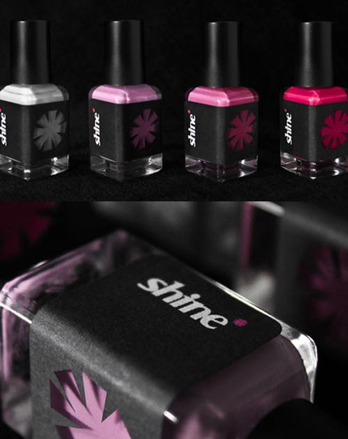 Nice.  Packaging is dope, fact they got that brand name is … brilliant. Pun intended. Shine - a freelance mobile nail salon in ?? mystery place. via