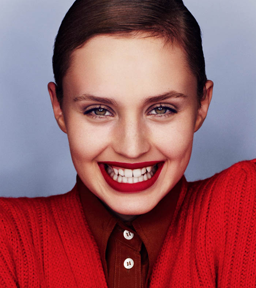Fall is going to be SO all about red, don't you think? It's kind of the lazy girl's cult beauty secret, because a red lip needs nothing else. Image: Vogue Russia by Emma Tempest via