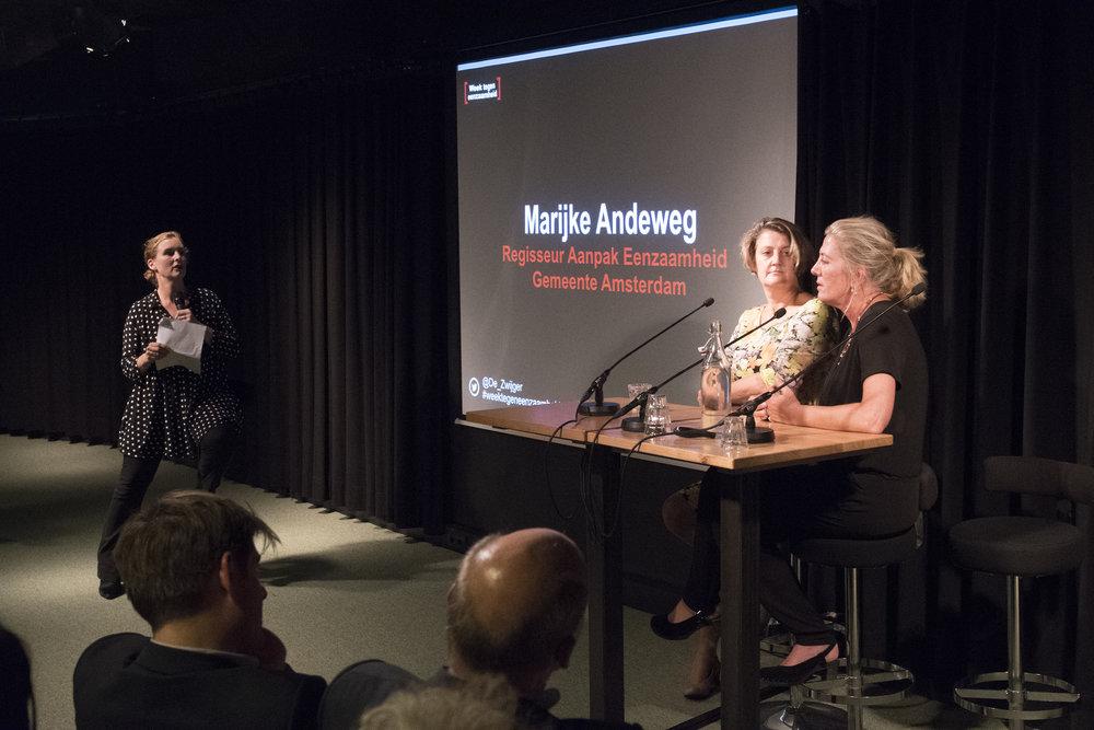 Marijke Andeweg (regisseur aanpak eenzaamheid gemeente Amsterdam) & Maureen van Eijk (armoederegisseur gemeente Amsterdam)