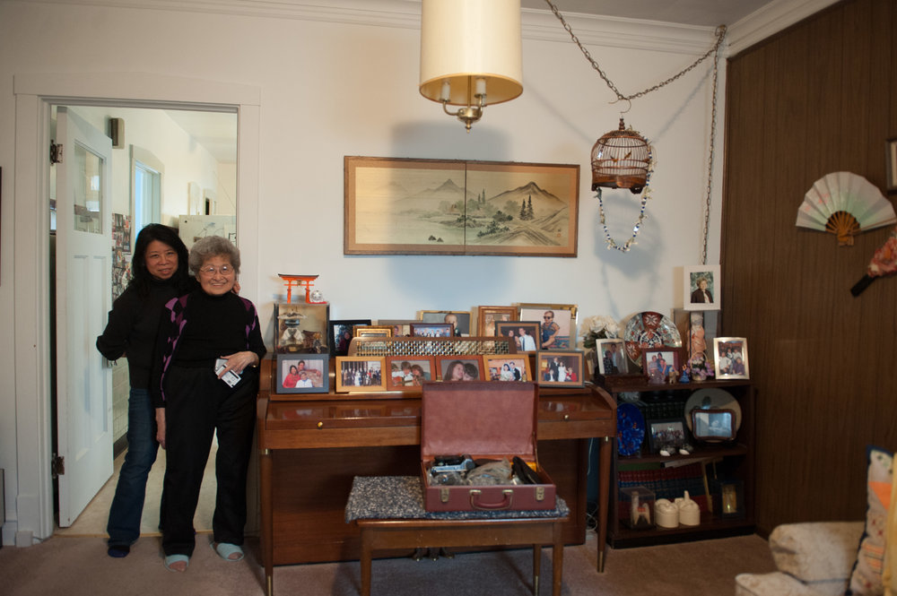 Elaine and her mother, Fumiko, in Fumiko and Yayeko's apartment.