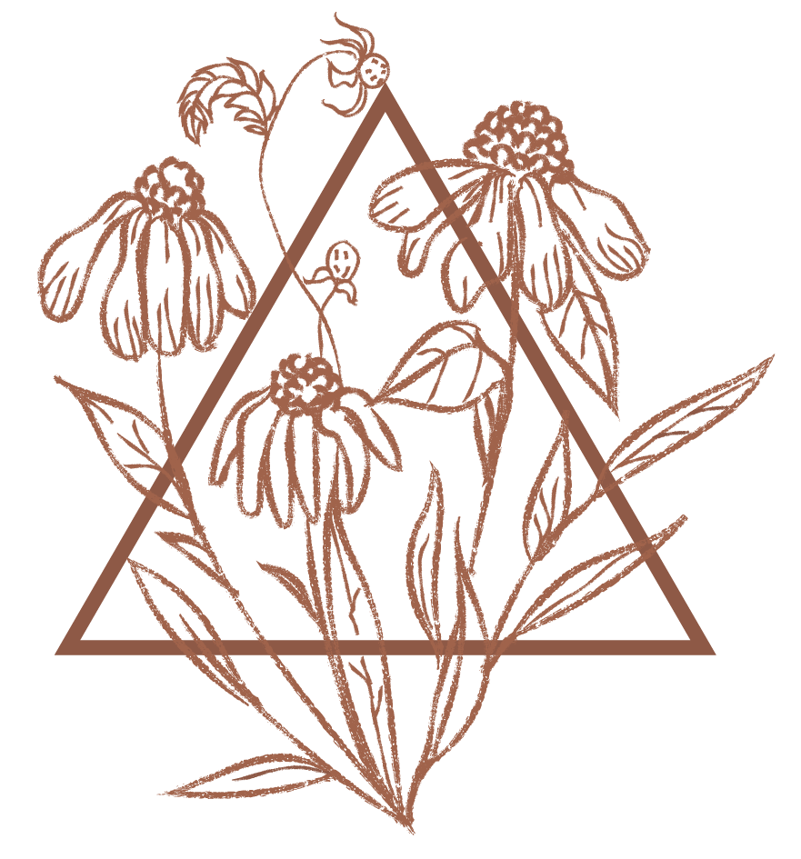 floral illustration with triangle
