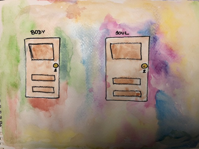I chose to color around the BODY door with earthy colors of browns, reds, oranges and greens, and the SOUL into more exciting shades that I find more mentally stimulating. You don't need to do this, but exploring your creativity with this exercise can have amazing side effects!