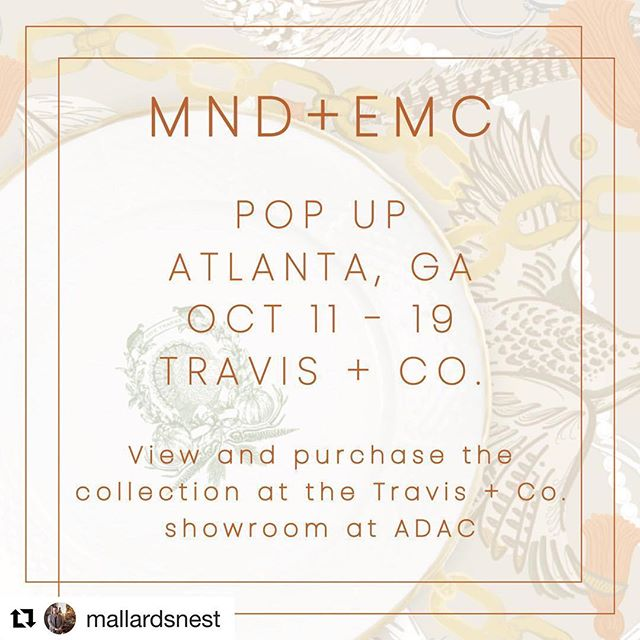 Come by the showroom today for this wonder event with our fun friends!  @mallardsnest ・・・ We are so honored to be hosting a pop up at the beautiful @travisandcompany! Come see me at @adac today from 1 PM to 5 PM! . . . . . #interiordesign #residential #commercial #traditions #interiors #simplebutsignificant #sleek #mallardsnestdesign #mallardsnest #designwithlifeinmind #inspiredbytravel #entertainingathome #southerncharm #instabyansley