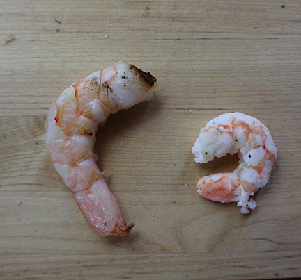 DICED's chemical and phosphate free shrimp vs the other guy.