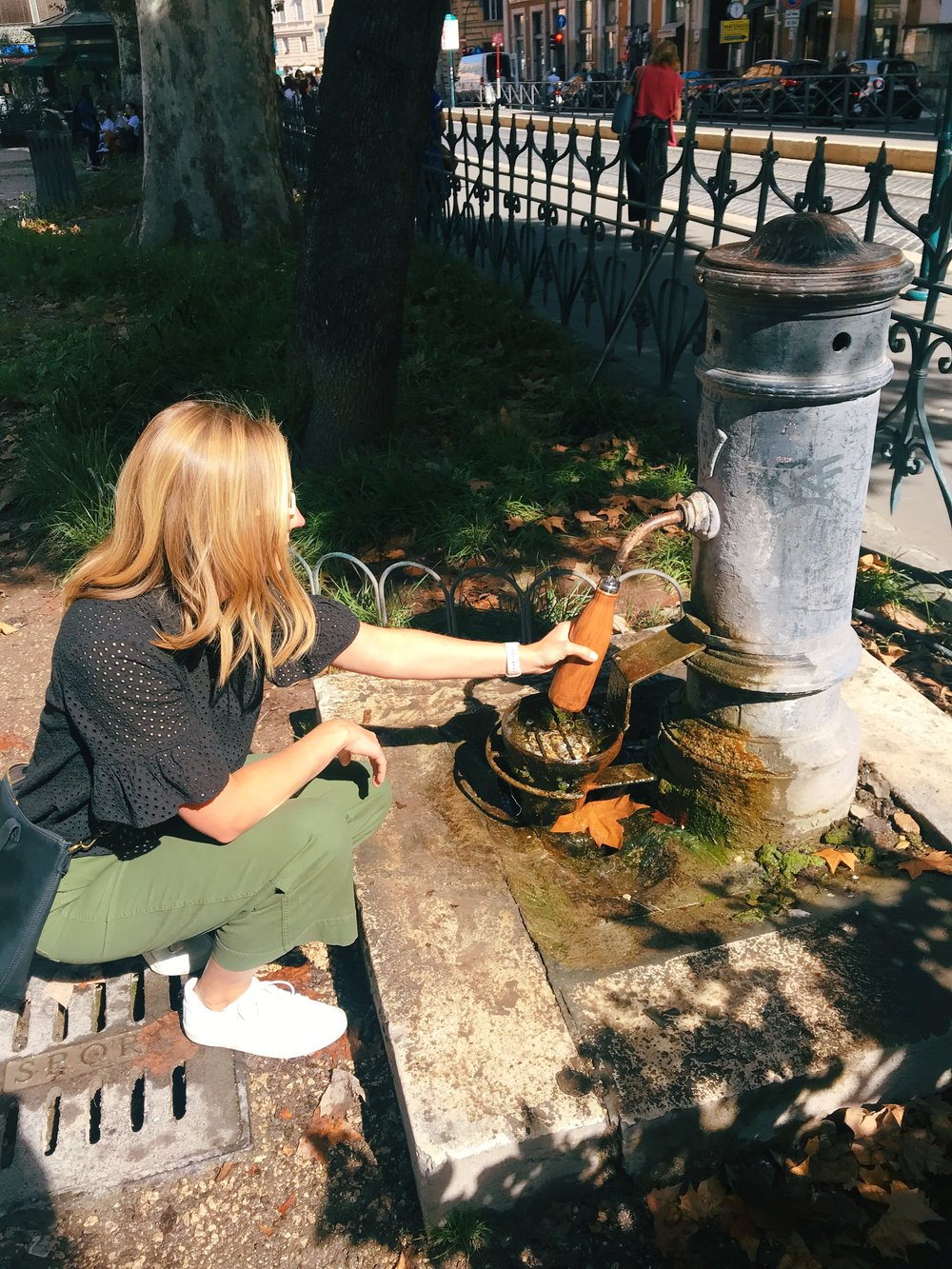 Me filling up my Swell bottle at a fountain in Rome, Italy.