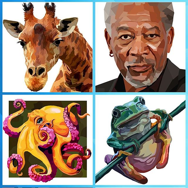 A few random pics from my new colouring app. #adultcoloringbook #colouringapp #adultcoloringapp #coloringapp #adultcolouringapp #giraffe #octopus #frog #morganfreeman