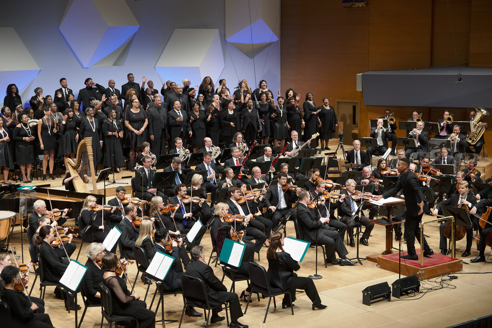 "The Minnesota Orchestra and choirs from Shiloh Temple International Ministries perform Clark's arrangement of ""Praying Spirit"" in their ""Send Me Hope"" concert. (2017)"