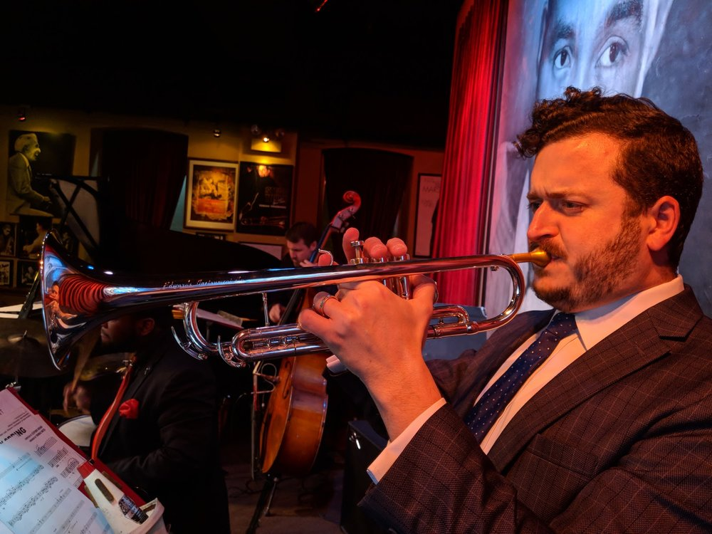 "Soloing on my composition ""Blaze"" with the Bob Lark Alumni Big Band at Chicago's Jazz Showcase. (2018)"