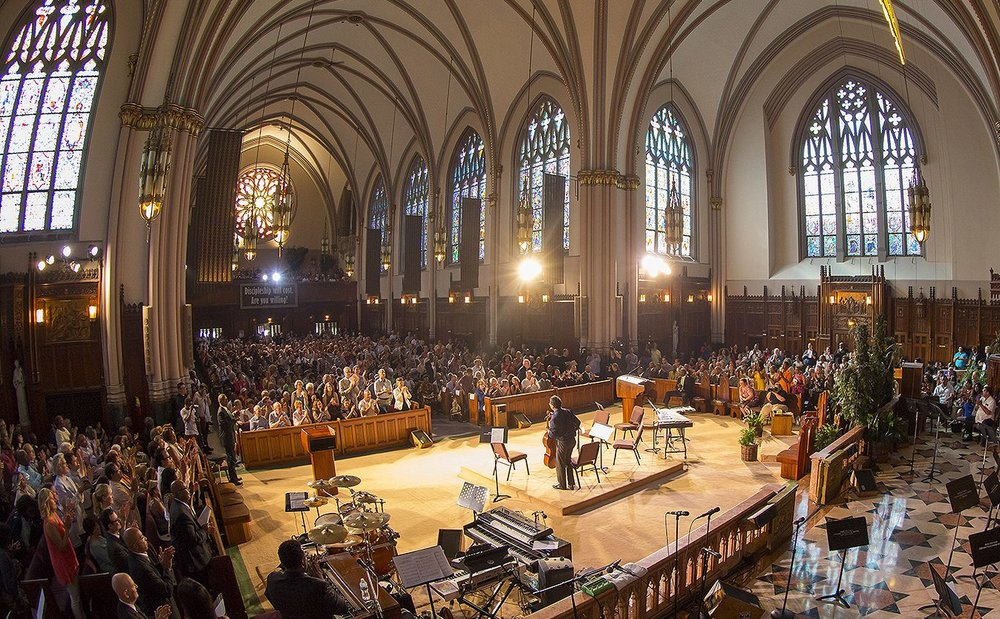 "Yo-Yo Ma at St. Sabina's Church in Chicago, IL, where he performed Joe Clark's arrangement of Scott Joplin's ""Maple Leaf Rag."" (2017)"