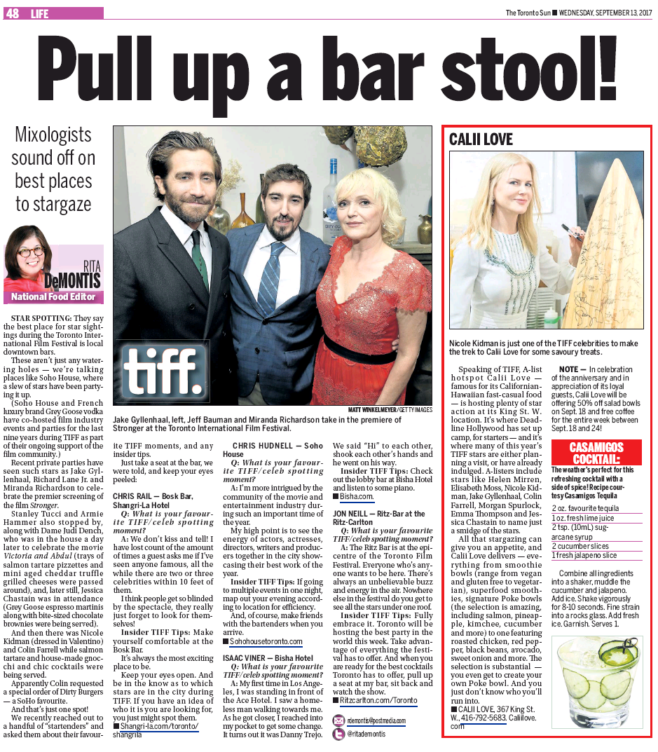 TORONTO SUN - PULL UP A BAR STOOL!