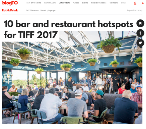 BLOG TO 10 bar and restaurant hotspots for TIFF 2017