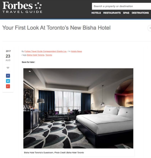 FORBES TRAVEL GUIDE Your First Look At Toronto's New Bisha Hotel