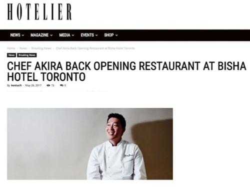 HOTELIER Chef Akira Back Opening Restaurant at Bisha Hotel Toronto