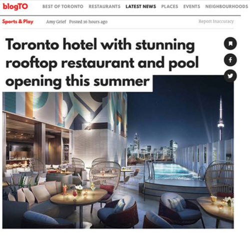 BLOG TO Toronto Hotel Opening this Summer