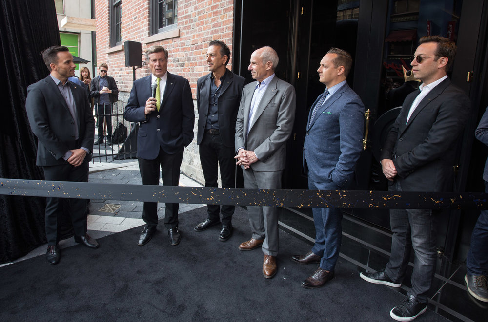 Jacques Lapierre (GM, Bisha Hotel Toronto); Mayor John Tory; Charles Khabouth (CEO, INK Entertainment); Jonathan Tisch (Chairman and CEO, Loews Hotels); Brian Brown (VP, Lifetime Developments); Michael Pearl (VP, Lifetime Developments) 3.jpg